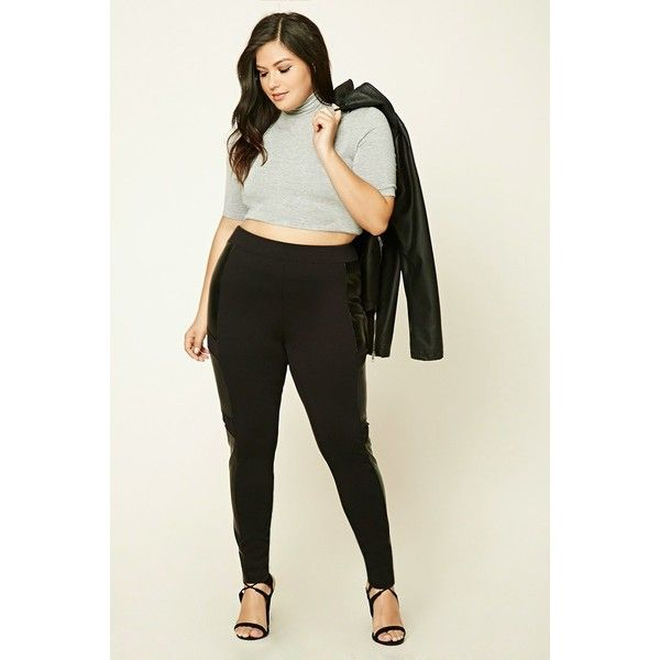 Forever21 Plus Size Faux Leather Leggings ($16) ❤ liked on Polyvore featuring plus size women's fashion, plus size clothing, plus size pants, plus size leggings, black, fake leather leggings, forever 21, forever 21 leggings, imitation leather leggings and vegan leather pants