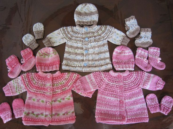 Sea Trail Grandmas: PREEMIE AND NEWBORN SEAMLESS SWEATER, HAT MITTENS AND BOOTIES SET KNIT PATTERN