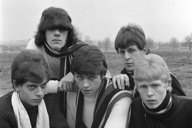 Jim Simpson's photograph of The Move - Carl Wayne, Roy Wood, Bev Bevan, Trevor Burton and Ace Kefford in Ward End Park, 1965
