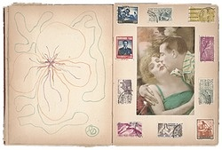 Love, love, love this scrapbook/artists' book co-created by Robert Duncan and Jess (Jess Collins), the San Francisco poet & artist power couple. On the left-hand page, a drawing by Duncan and on the right, a collage by Jess.    Robert Edward Duncan and Jess Collins scrapbook for Patricia Jordan, 1959. Patricia Jordan papers, Archives of American Art, Smithsonian Institution.