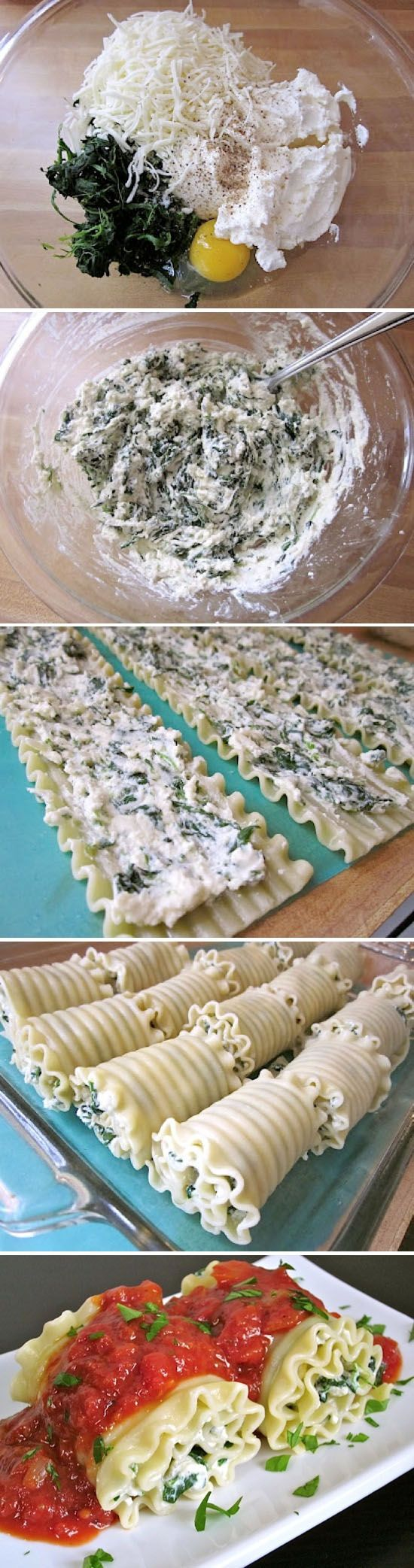 The filling: Parmesan (or mozzarella or other cheese grated) + egg + spinach + cream cheese (I would use ricotta or processed frescal). Makes a briefcase, fills the already cooked lasagna sheets, leads quickly to the oven just to melt the cheese and served with a freshly baked tomato sauce