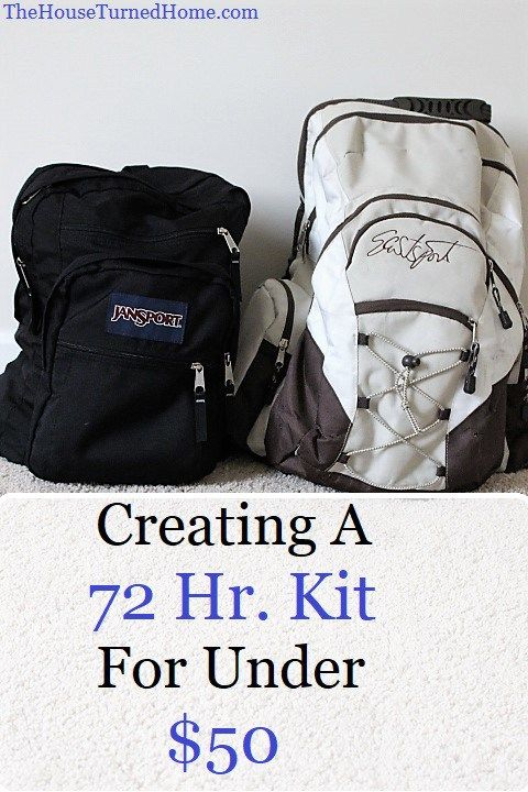 Creating a 72 Hr. Kit for Under $50