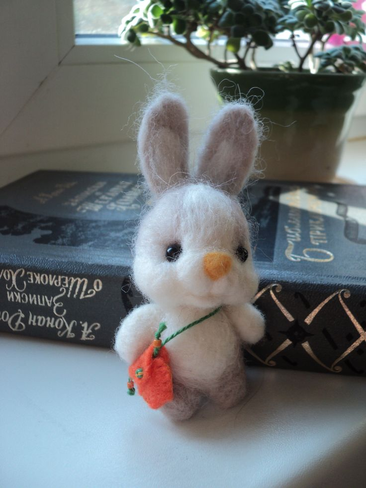 hand made toy bunny with bag