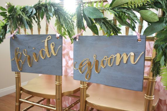 These gorgeous chair signs are certainly one of a kind! Each word is designed with my handwritten modern calligraphy, laser cut to create depth