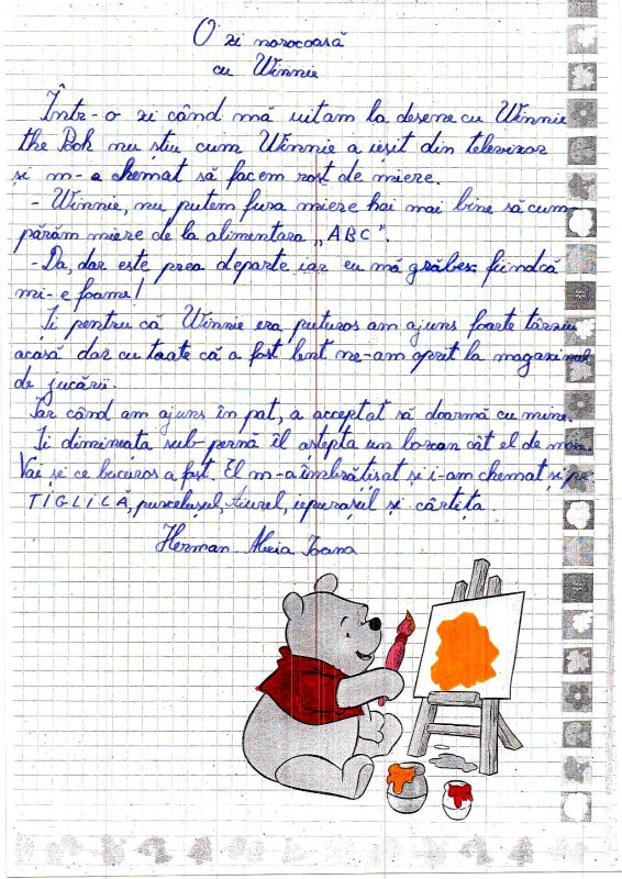 Copiii și-au imaginat cum ar decurge o întâlnire cu personajul lor preferat, Winnie the Pooh