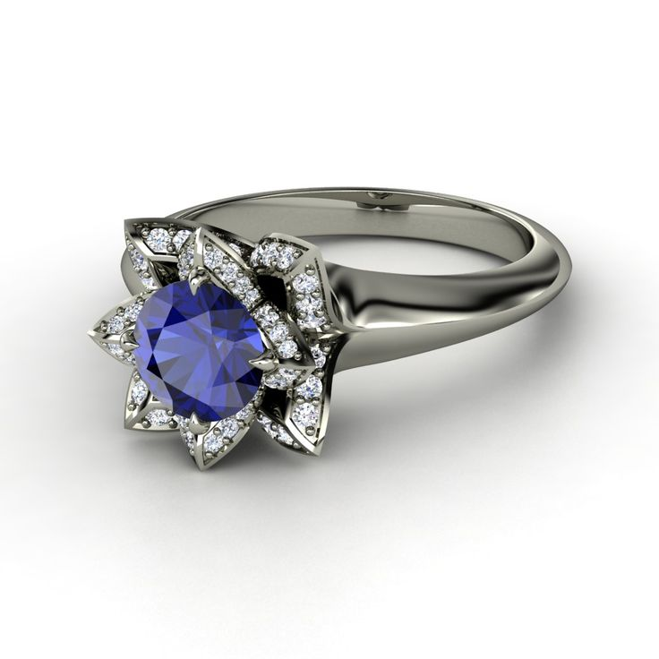 one of the prettiest engagement rings ive ever seen round blue sapphire 14k nontraditional - Non Traditional Wedding Rings