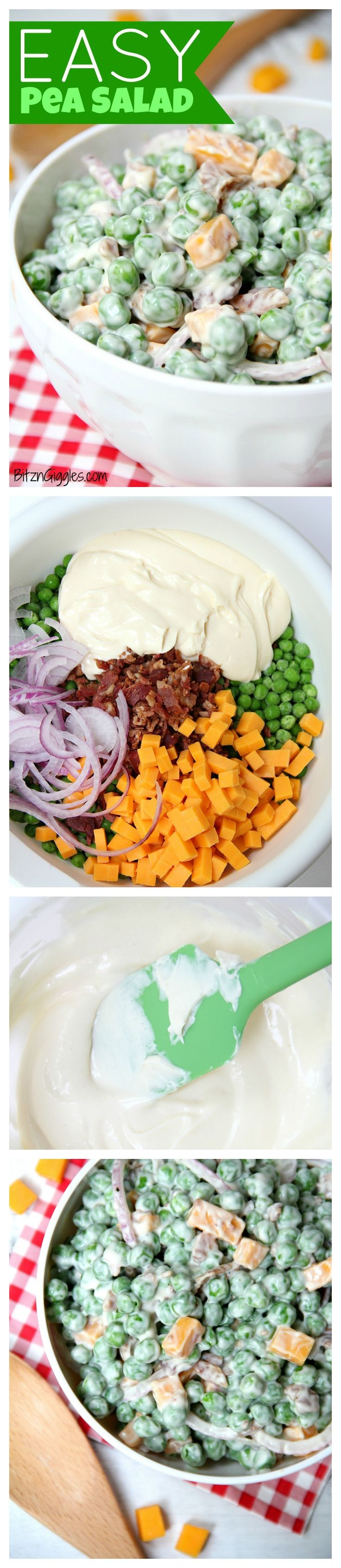 Easy Pea Salad - A summer salad perfect for potlucks and gatherings. Crisp green peas float alongside bacon, cheddar cheese and thinly sliced red onion in a sweet and creamy dressing.