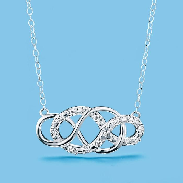 "New! Sterling silver 1"" L double-infinity pendant embellished with 11 CZs on a sterling silver chain. https://ashleygriffiths.avonrepresentative.com/"