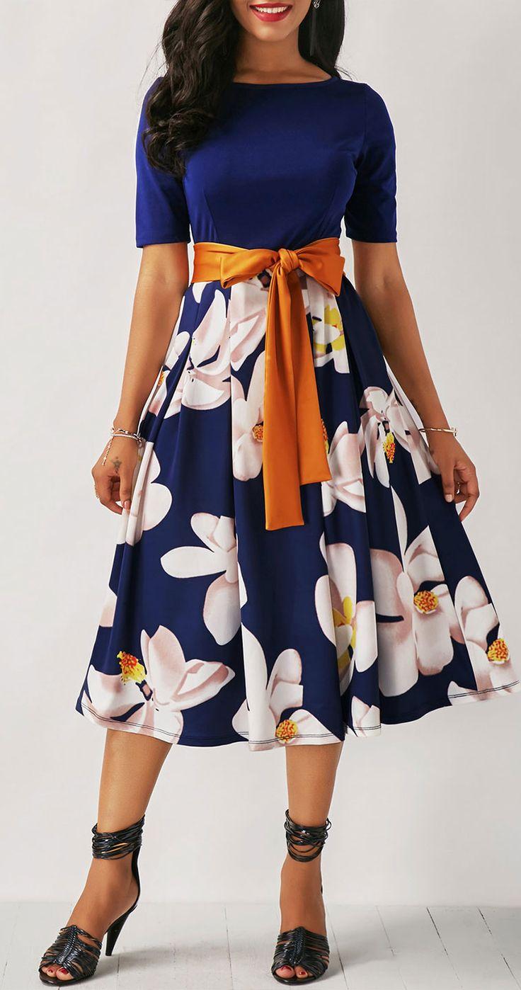 Belted Flower Print Navy Blue Dress