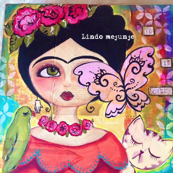 Cuadro técnicas mixtas Frida khalo por lindo mejunje