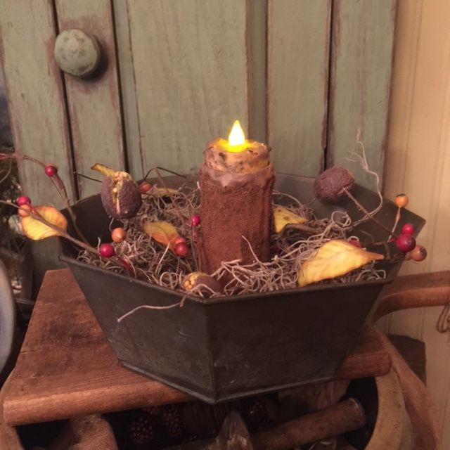 Primitive Country Farmhouse Old Antique Cake Pan Grubby Candle FALL Make Do  #NaivePrimitive