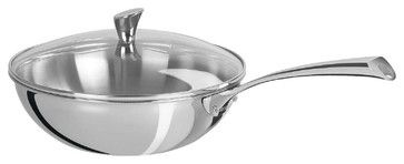 Cristel Casteline Stainless Steel 4-quart Wok w/Glass Lid contemporary specialty cookware