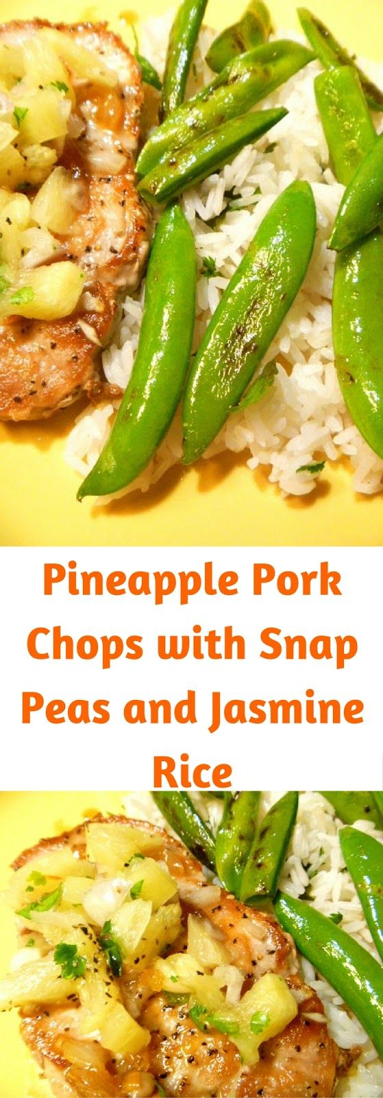 A light and tropical flavored dish of Pineapple Pork Chops with Snap Peas and Jasmine Rice.  Perfect for a summer weeknight meal. - Slice of Southern