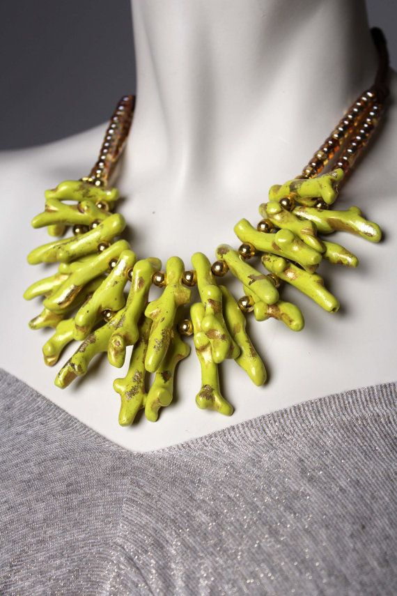 Coral Statement Necklace Chartreuse / Unique by BossyMossyBeads