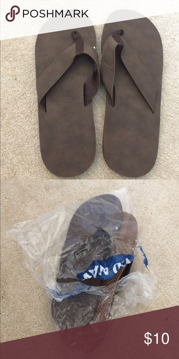 "Old Navy flip flops size 10-11 Brown Old Navy slippers , brand new, never worn. Took out of package to check size. Size tag reads ""10/11, 29"". Has foam lining on straps for comfort. Shoes Sandals & Flip-Flops"