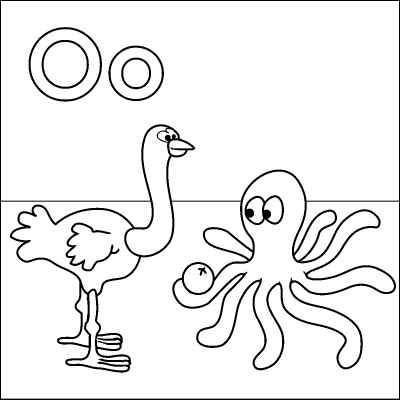 letter o coloring page ostrich octopus orange color it in online