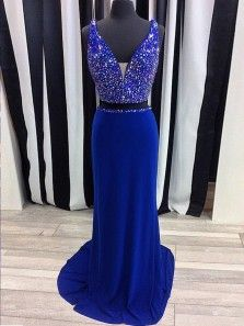 9186146231f5 Charming Mermaid Two Piece V Neck Open Back Royal Blue Long Prom Dresses  with Beading, Sparkly Evening Dresses PD0831001