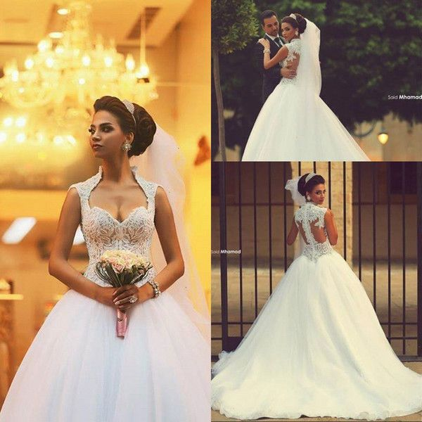 2016 Cheap Vintage Wedding Dresses High Neck Sweetheart Beaded Appliques Bridal Ball Gown Court Tarin Arabic