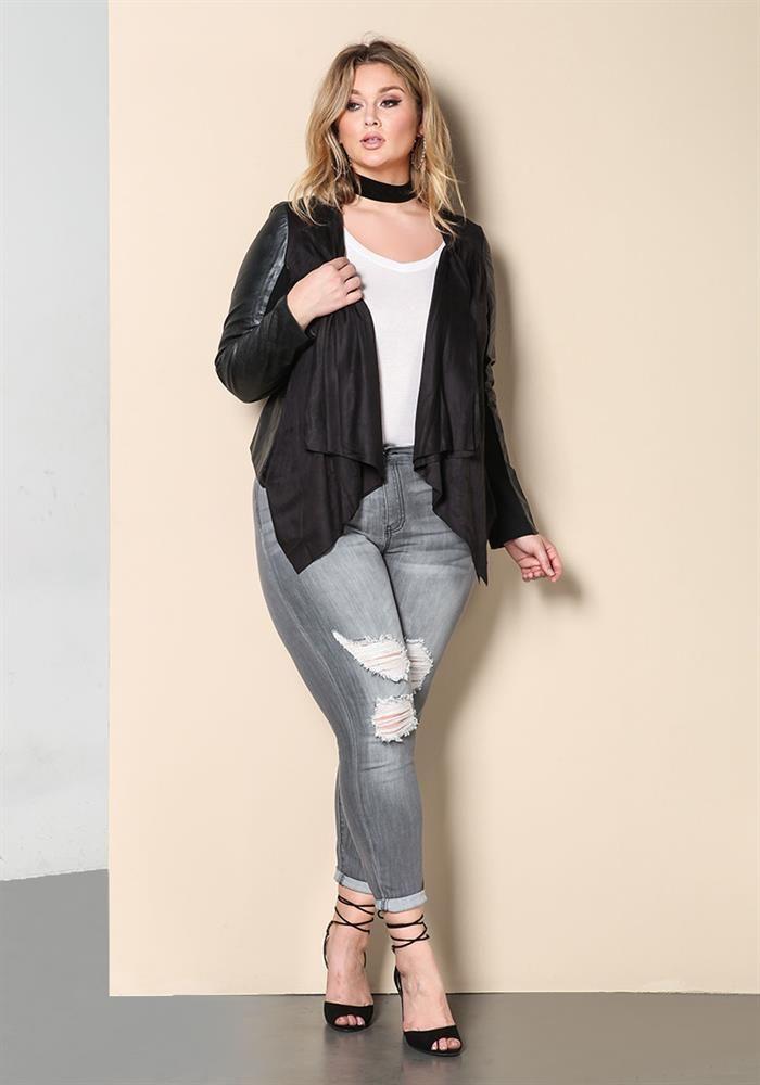 Plus Size Clothing   Plus Size Suedette Leatherette Jacket   www.Debshops.com   #plussize #debshops