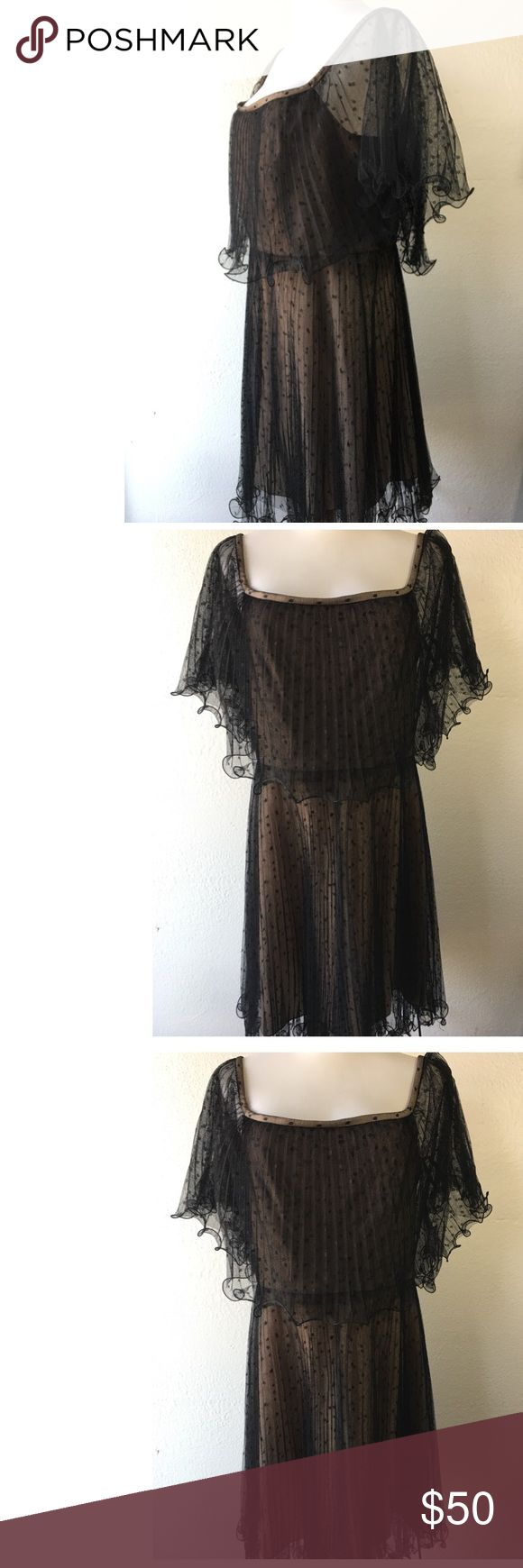 BCBG Black and Nude Evening Dress Sz 10 So sexy! A great dress for date night, holidays or any upcoming special occasion. Mesh, see through black material embellished with polka dots over nude sheath dress. No holes or rips. Back zip up enclosure. From smoke and pet free environment. BCBG Dresses