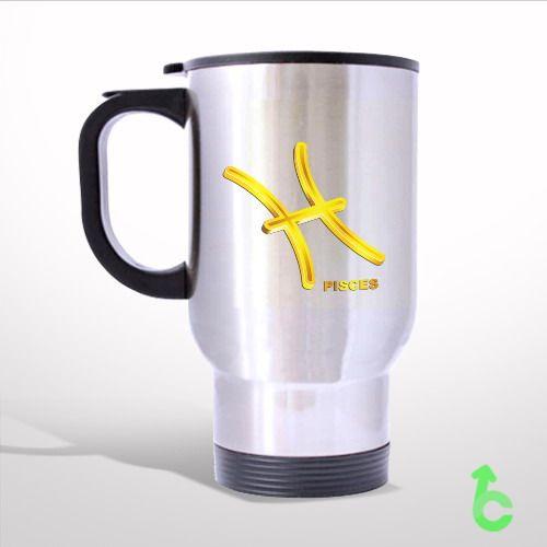 Zodiac Gold Pisces Travel Mug