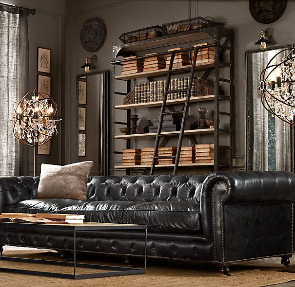 Kensington Leather Sofa Restoration Hardware Living Room