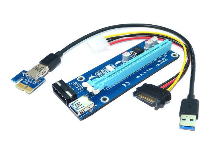 PCI-E PCIe PCI Express 1X to 16X GPU Extender Riser USB 3.0 Cable 60cm + Molex SATA Power for BTC Bitcoin Litecoin Miner RIG