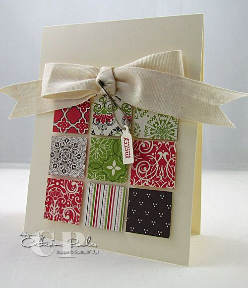 Simple & Easy Christmas Card...using blocks of assorted paper & a bow with a tag.