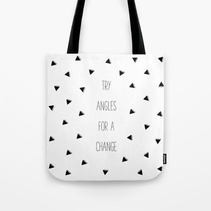 'Try Angles For A Change' tote bag. Tote Bags | Accessories | Hand Drawn Art | Shopping Bags | Gift Ideas