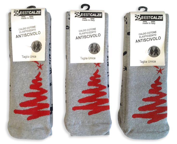 3 paia di calze lunghe antiscivolo unisex in cotone invernale, fantasia natalizia
