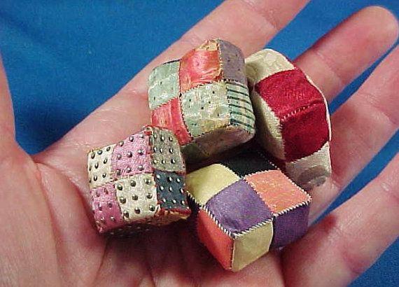 Antique c 1820 English Miniature Silk Patchwork Sewing Pin Cushions << #sewing #pincushions #patchwork