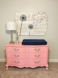 Coral dresser, navy and coral nursery, dandelion art