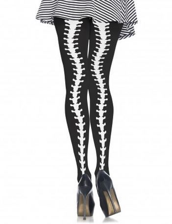 f59176cd55c Black opaque tights with skeleton spine backseam print