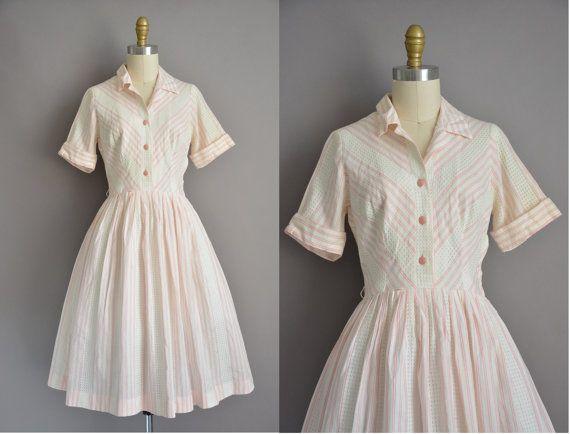 50s white cotton pink stripe vintage full skirt dress /