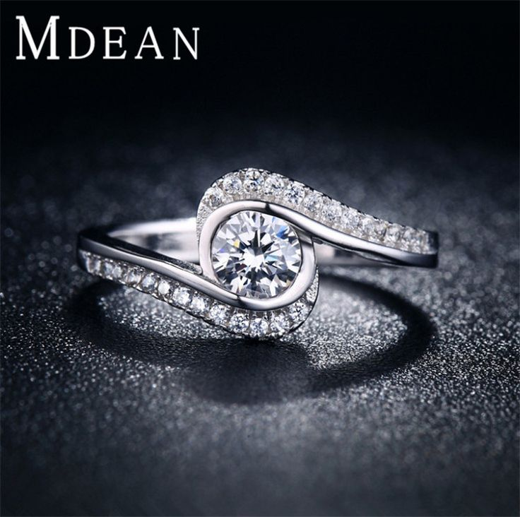 MDEAN Vintage jewelry Rings for women white gold filled engagement fashion wedding bague for lady Bijoux MSR029
