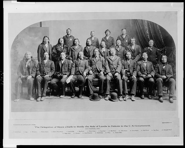 The delegation of Sioux chiefs to ratify the sale of lands in South Dakota to the U.S. government, December, 1889. Photo by C. M. Bell, [1889 or 1890]. Library of Congress Prints and Photographs Division