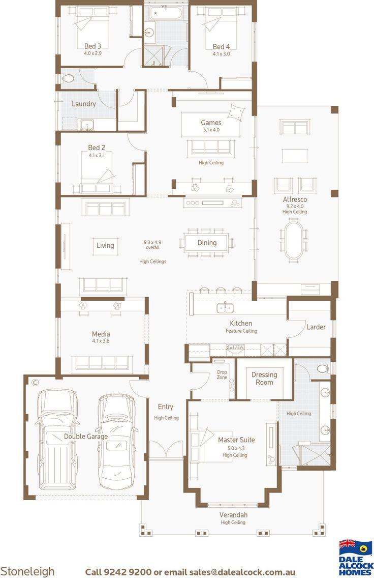 Stoneleigh Floorplan http://www.dalealcock.com.au/New-Homes/Display-Homes/Stoneleigh/Build/Floor-Plan/