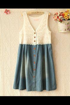 Refashion Denim Into A Dress  @secondstreet
