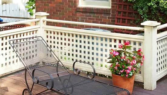 Painted Wood Lattice Guardrail   Deck railing diy, Deck ...