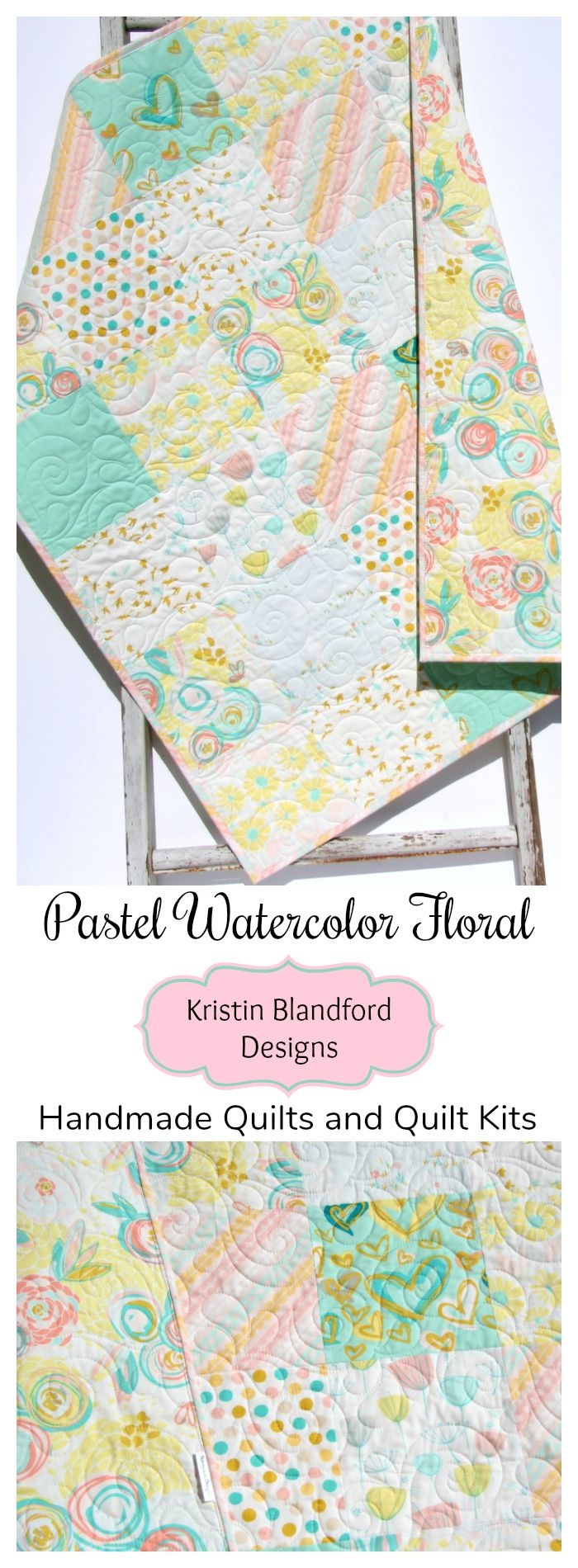Handmade Pastel Hexagon Baby Crib Quilt