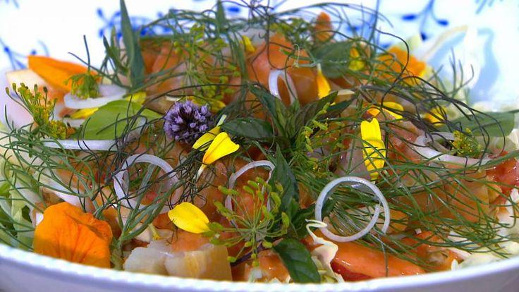 Spidskålssalat med røget torsk – tomatvinaigrette og parmesan | Mad