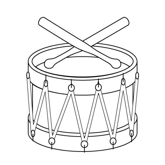 Christmas toy drum coloring page