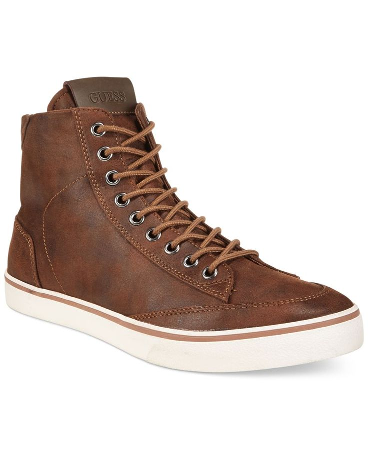 guess s malden 2 cognac high top sneakers leather