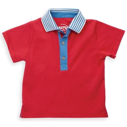 Kite Red Stripy Collar Polo Shirt