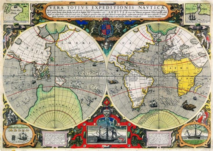 22 best antique world map art poster print images on pinterest map antique world map canvas art poster print retro vintage wall decor vera totius expeditionis nautica gumiabroncs Gallery