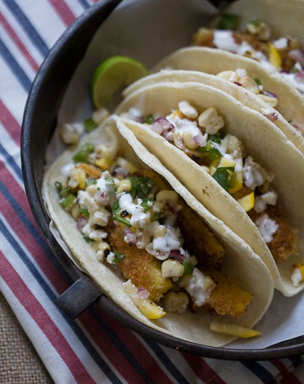 tacos with a charred corn salsa baked summer squash vegetarian tacos ...
