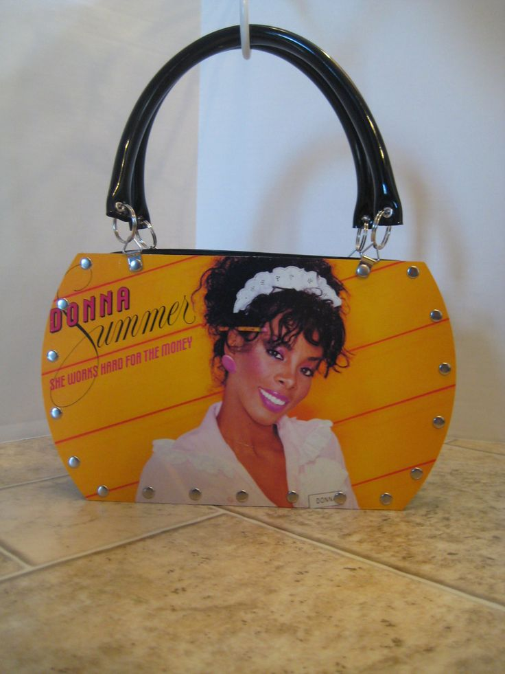 "Donna Summer ""She Works Hard For The Money"" Vintage Vinyl Record Tote Purse Handbag 80's Rock Pop Disco Music Handmade Recycled by VintageVinylRedo on Etsy https://www.etsy.com/listing/256113194/donna-summer-she-works-hard-for-the"
