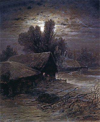 Moonlight Night in Village (Winter Night),1869   Alexey Savrasov   The Volgograd Regional Museum of Fine Arts Volgograd Russia