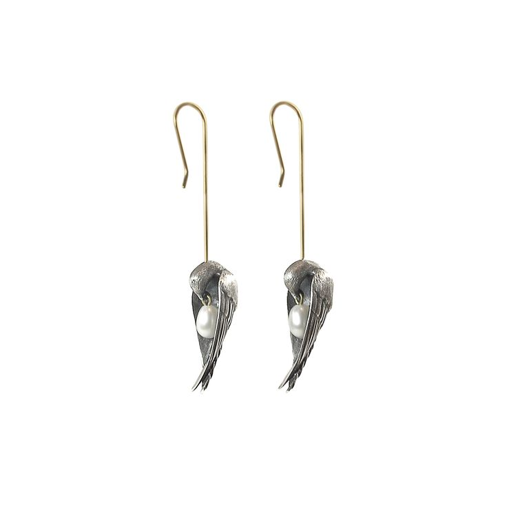 GABRIELLA KISS STERLING SILVER SLEEPING BIRD EARRINGS WITH WHITE PEARLS | AUGUST