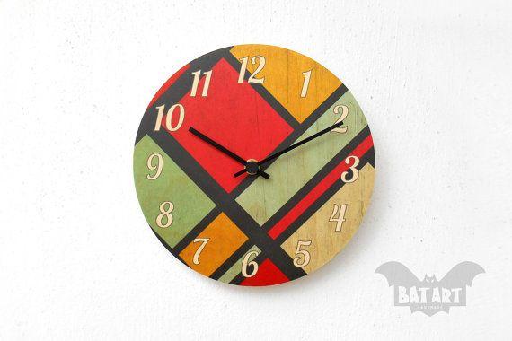 BAT Wall Clock 20cm pop art color squares  Black metal by BatLab
